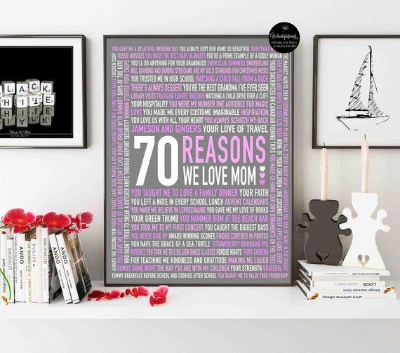 70 Reasons We Love MOM 70th Birthday Gift For HER