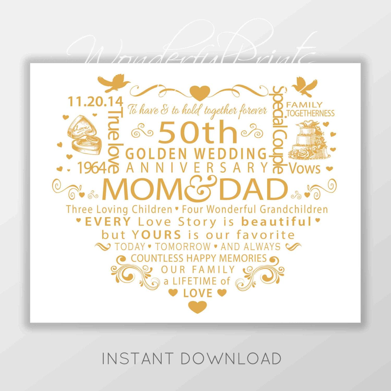 50th Wedding Anniversary Poems For Parents In Hindi: PRINTABLE Personalised Custom 11x14 Word Art Mom Dad Mum
