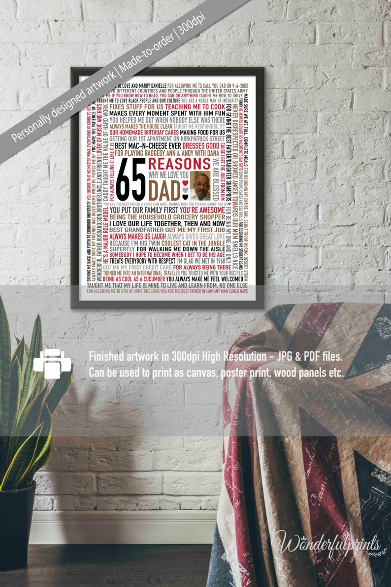 Custom 65th Birthday Gift For DAD 65 Reasons Why We Love You