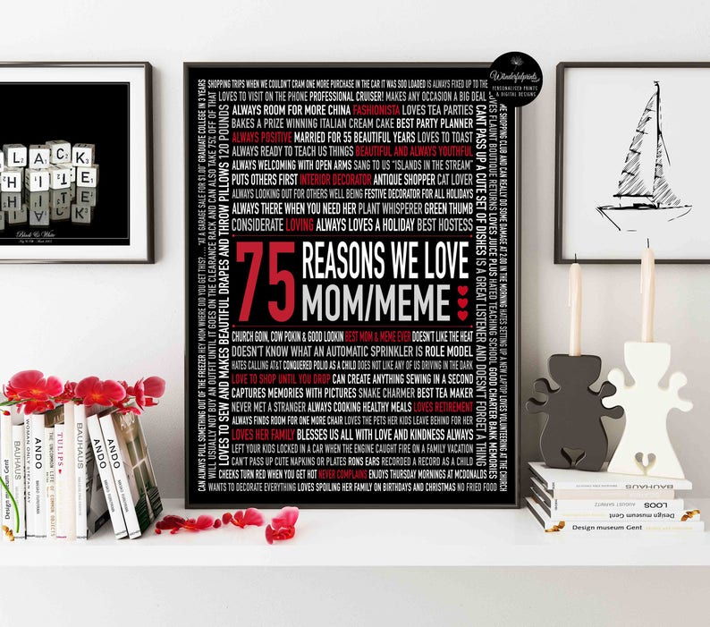 75th Birthday Gift 75 Reasons Why We Love You For Dad