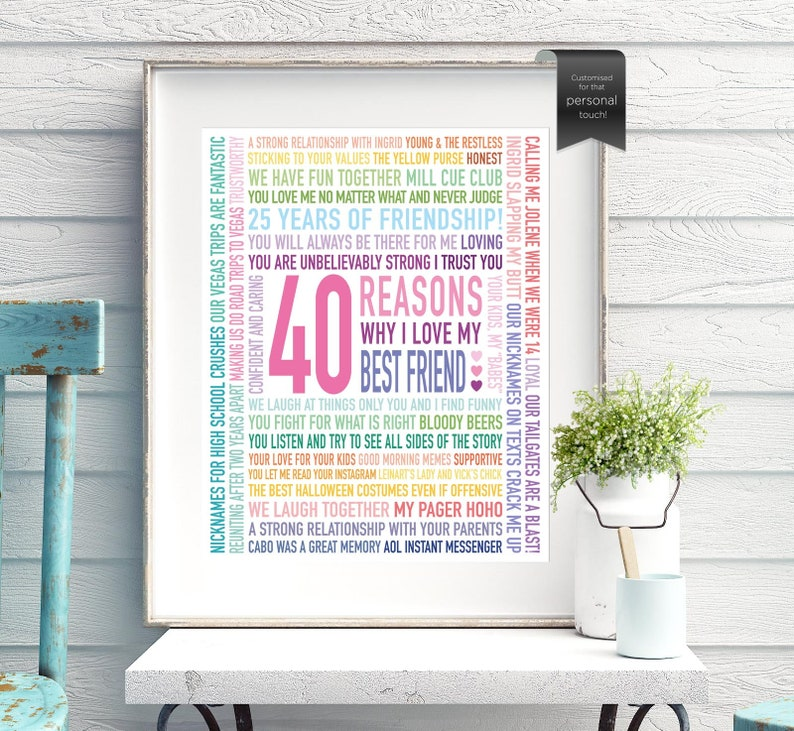 40th Birthday Gift For Best Friend Gift For Her Gifts For