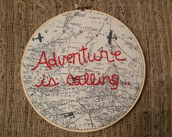Adventure Is Calling Hand Embroidery Hoop Art-8 inch Embroidery Hoop - Gift for Baby-Travel-Explore - Embroidery Wall Hanging - Wall Art