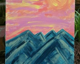 Abstract Mountain Sunset Art on 16x20 Canvas - Acrylic Sunset Art - Abstract Art - Wall Art - Wall Decor - Painting