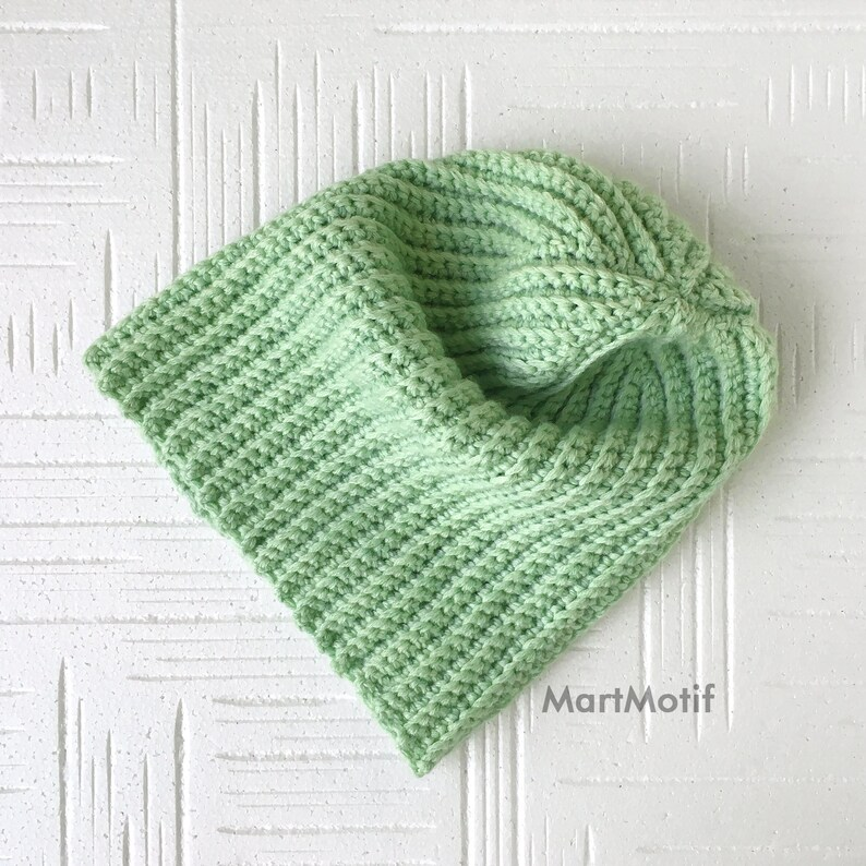 Slouchy Beanie Hat Chunky Brim Hat in Light Green Crochet Merino Wool Hat Warm Winter Knit Hat
