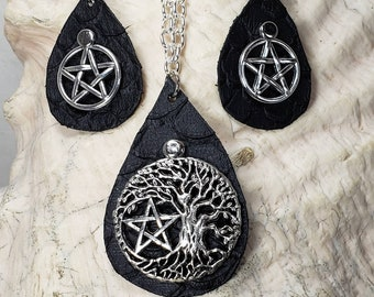 Pagan Pentacle Tree of Life Leather Necklace and Earrings