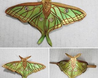 Leather Luna Moth Hair Stick Barrette