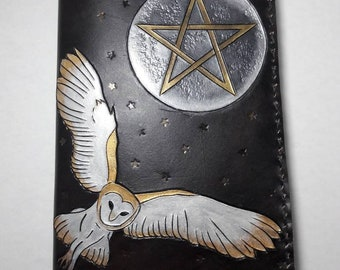 Leather Owl Pentacle Moon Book of Shadows Journal