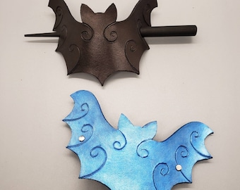 Leather Bat Hair Accessory Clip Hair Stick Barrette Gothic Spooky Custom