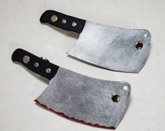 Leather Meat Cleaver Knife Barrette