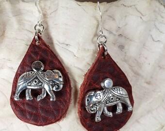 Elephant Leather Dangle Earrings