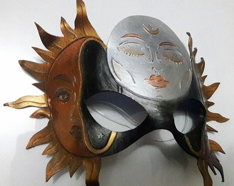Leather Sun and Moon Masquerade Mask