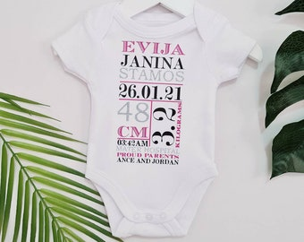 Personalized Newborn Name Announcement / Baby Bodysuit / Going Home Outfit / Baby Announcement / Baby Shower Gift / Baby Boy / Baby Girl