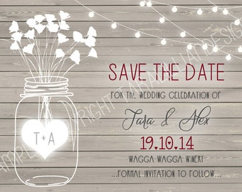 Natural Wood Mason Jar ~ Save The Date ~ DIGITAL FILE ONLY