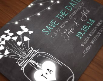 Blackboard Mason Jar Save the Date DIGITAL FILE ONLY