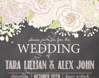 Floral Header Wedding Invitation DIGITAL FILE ONLY