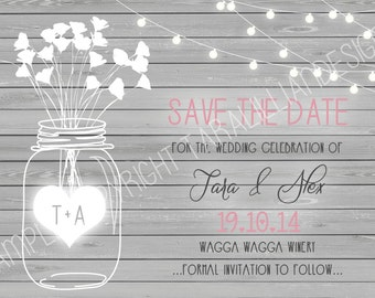 Grey Wood Mason Jar ~ Save the Date ~ DIGITAL FILE ONLY