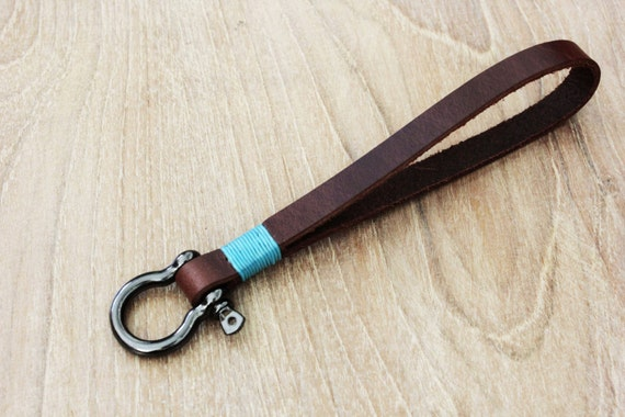 Simple Retro Genuine Leather Key Chain Ring Keychain Holder Wrist Hand Strap New
