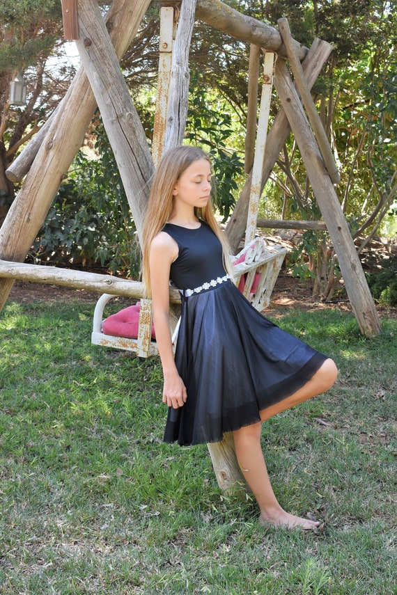 Black and white dress for girls summer black dress teenager girl dress young lady dress chiffon ballerina dress
