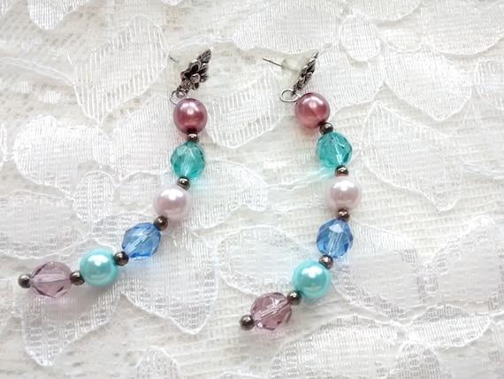 multi-color czech drop earrings