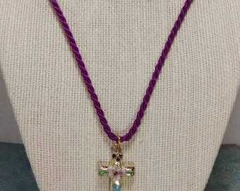 Cloisonné Necklace, Cloisonné Cross Corded Necklace, Twisted Cord Necklace, Religious Jewelry