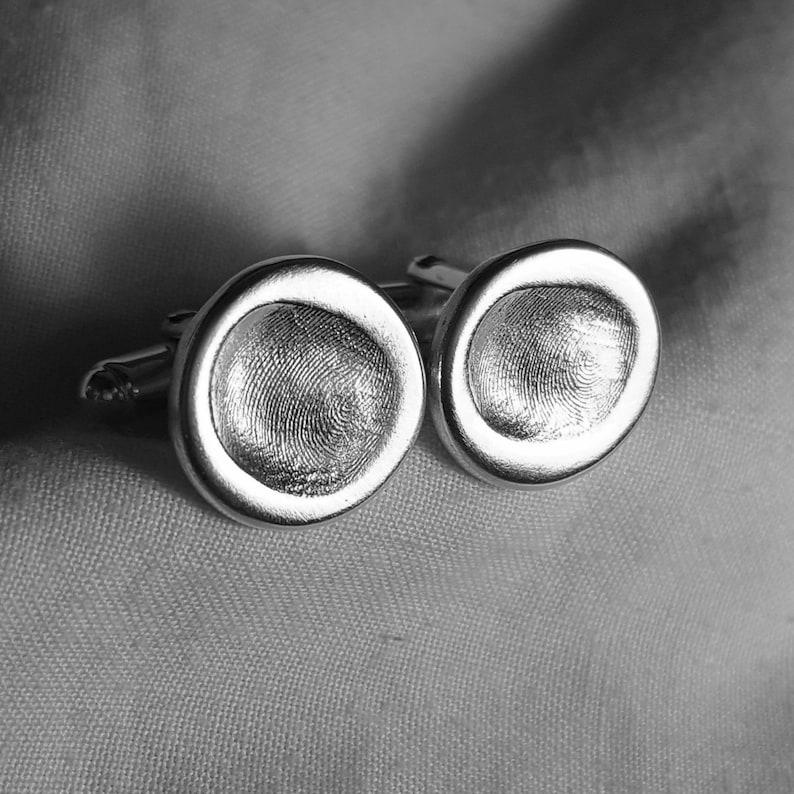 FINGERPRINT CUFFLINKS Personalized Silver Fingerprint Cuff Links