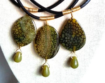 GREEN DRAGON AGATE Pendant on Thick Leather Cord. Olive Green Spider Web Agate with Lemon Jade Drop on Short Leather Necklace. Brass Clasp.
