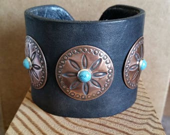 """COPPER CONCHO CUFF Wide Black Leather with Turquoise Studs. For 7-1/2"""" Wrist Size. Mens Womens Western Native Leather Bracelet."""