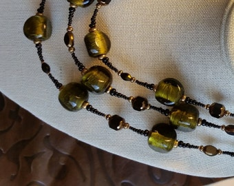 LONG OLIVE GREEN Wraparound Beaded Necklace. Peridot Murano Silverfoil Bead Necklace. Green, Black Gold Beaded Necklace with Brass Clasp.