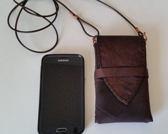 CROSSBODY PHONE POUCH Handstitched Brown Leather. Deluxe with Card Pocket, Inside Lining. Leather iPhone Wristlet. Galaxy Leather Pouch.