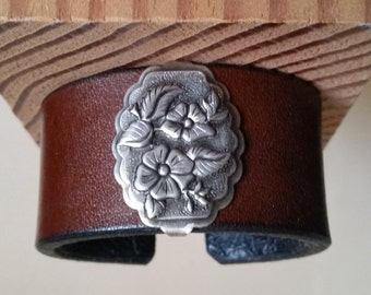 "Small BROWN LEATHER BRACELET with Antique-Silver Wild Rose Concho. Lined. For 6"" Wrist Size. Womens Leather Wristband. Western Floral Cuff."