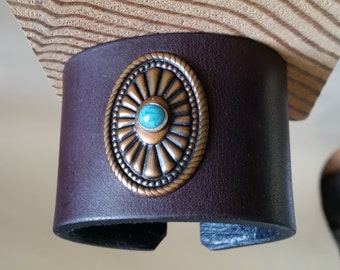 SMALL LEATHER CUFF. Burgundy Leather with Copper Concho and Turquoise Stud. Womens, Girls Leather Bracelet. For 5-1/2 Inch Wrist Size.