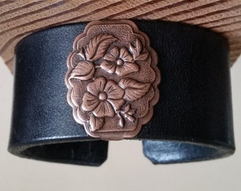 "BLACK LEATHER BRACELET with Copper Wild Rose Concho. 6-3/4"" Wrist Size. Womens Cuff Wristband. Floral Western Concho. Hook & Eye Clasp."