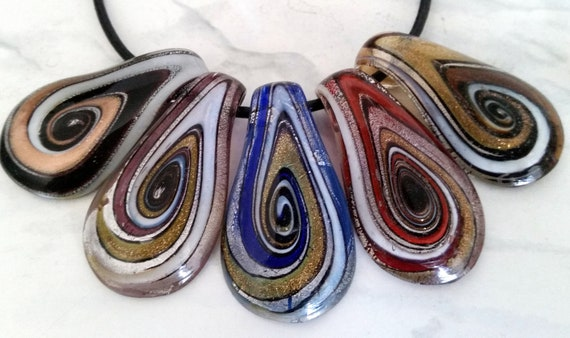 Genuine Leather Necklace with 925 Silver Ends Clasp with Murano Glass Pendant