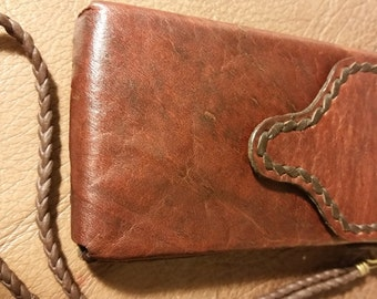 SMALL LEATHER BELT Pouch or Wristlet. Handstitched Brown Real Leather Case. Lined inside. For small phones, gadgets, cards