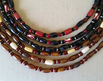 Men's BONE+HORN BEAD Short Necklace Choker. 19-21 Inches. Black, Red, White, Brown Short Necklace. Tribal, Surfer, Unisex, Simple Jewelry.