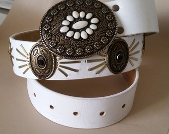 "WHITE LEATHER & BRASS Concho Belt 35 to 38""  Brass Buckle with Enamel Inlay. Faceted Crystal Studs. Cowgirl-Steampunk-Rodeo-Western"
