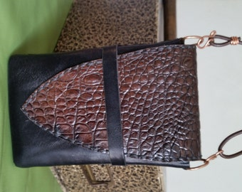 LEATHER CROSSBODY PHONE Case. Doubles as Belt Pouch or Wristlet. Black, Brown Reptile Leather, Handstitched. For iPhone, Samsung Smartphone