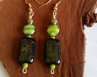 GREEN DANGLE EARRINGS Geometric with Irridescent Rectangular and Disc Bead in Olive, Lime, Black, Gold. Gift for Her, Women, Girl, Mom.