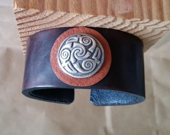 "LEATHER BRACELET with Celtic Spiral Concho. 6-3/4"" Wrist Size. Maroon Oxblood Brown Latigo Wristband. Men, Women, Unisex. Silver Concho Cuff"