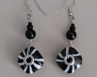 BLACK & WHITE ZEBRA Dangle Earrings. Bold Geometric Pattern Earrings with Square Glass Beads. Zebra Stripe Jewelry. Black and White.