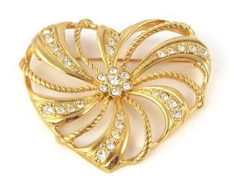 Avon Heart Brooch   Rhinestone Heart   Gold Heart