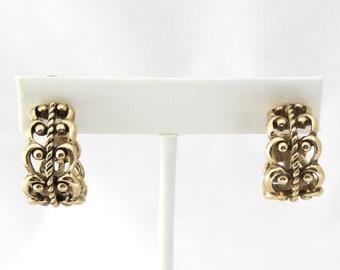 Avon Filigree Earrings   Scroll Earrings   Clip on Hoops