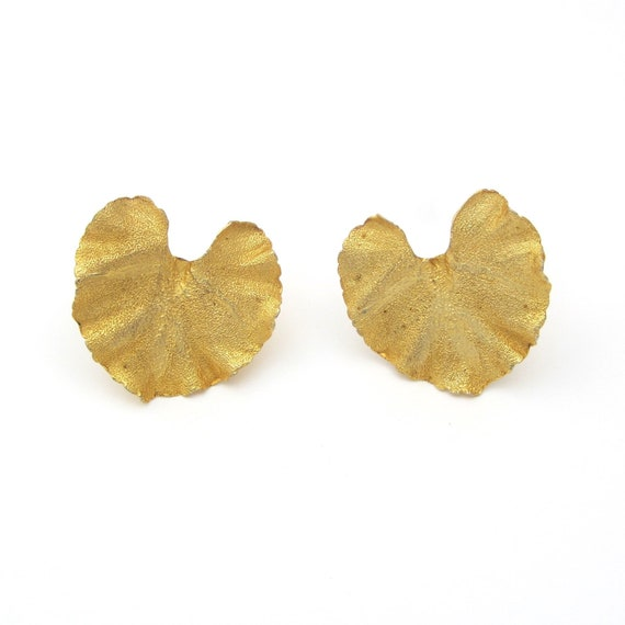 Statement Earrings Lily Pad Lily Pad Jewelry Lily Pad Earrings Flower Jewelry Gold Flower Earrings Flower Earrings