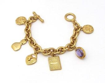 Gloria Vanderbilt Charm Bracelet   Heart Charm   Book Charm   Perfume Bottle Charm