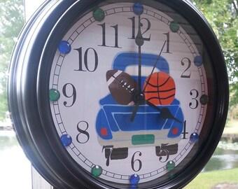 Little Boy Sports Clock, Little Boy Wall Decor, Little Boy Room, Sports Clock, Sports Wall Decor, Sports Room, Cute Clock, Boys Room,