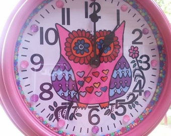 "Owl Hand Drawn Hand Painted 8.75"" Wall Clock wih Acrylic Jewels and perimeter colored jewels"