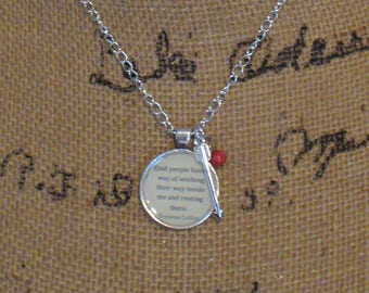 Book Nook, Book Quote Necklace, Quote Necklace, The Hunger Games, Suzanne Collins, Kind People Quote, Literature Necklace, MarjorieMae