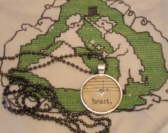 Vintage Sheet Music Necklace, Music and Dance, Re-Purposed Necklace, Music Note Necklace, Heart Necklace, Sheet Music, MarjorieMae