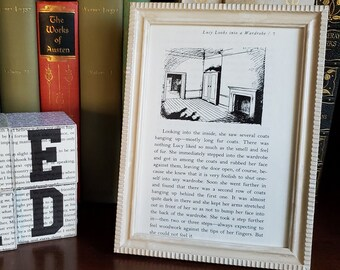 Lion, The Witch, & The Wardrobe Framed Book Page,  Narnia Book Page in Frame, Reader Gift, Book Decor, Ready to Ship, Book Nook MarjorieMae