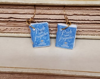 Pride and Prejudice Book Earrings, Mini Book Earrings, Pride and Prejudice Book Cover Earrings, Book Nook, Ready to Ship, MarjorieMae